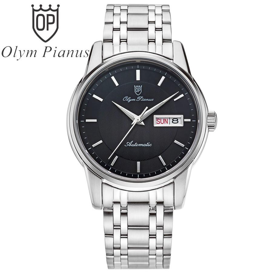 Đồng hồ nam dây kim loại automatic mặt kính sapphire chống xước Olym Pianus OP990-16AMS-D