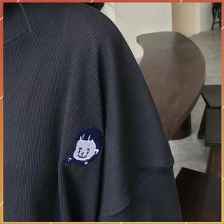 1hitshop Áo Sweater Cổ Lọ NANASS Thêu Cô Gái Thun Gân Form Rộng Ulzzang (Ánh Thật)