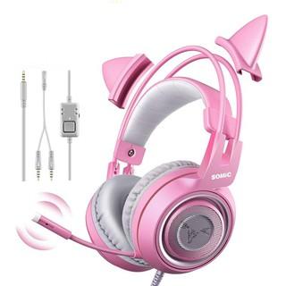 Tai nghe chụp tai chuyên game Somic G951S Pink tai mèo jack 3.5mm