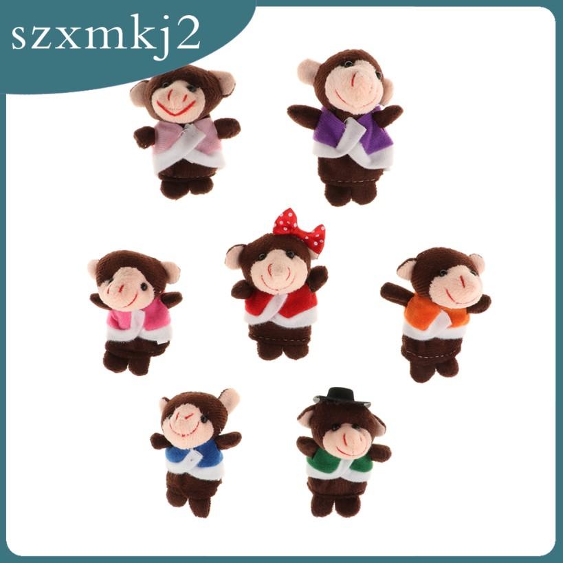 Cutest Set of 14 Monkeys Plush Finger Puppet Toy Set Story Telling Educational Toys