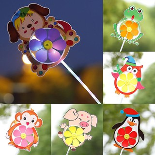 LYY_Cartoon Pig Penguin Frog LED Wind Spinner Windmill Gathering Supplies Kids Toy