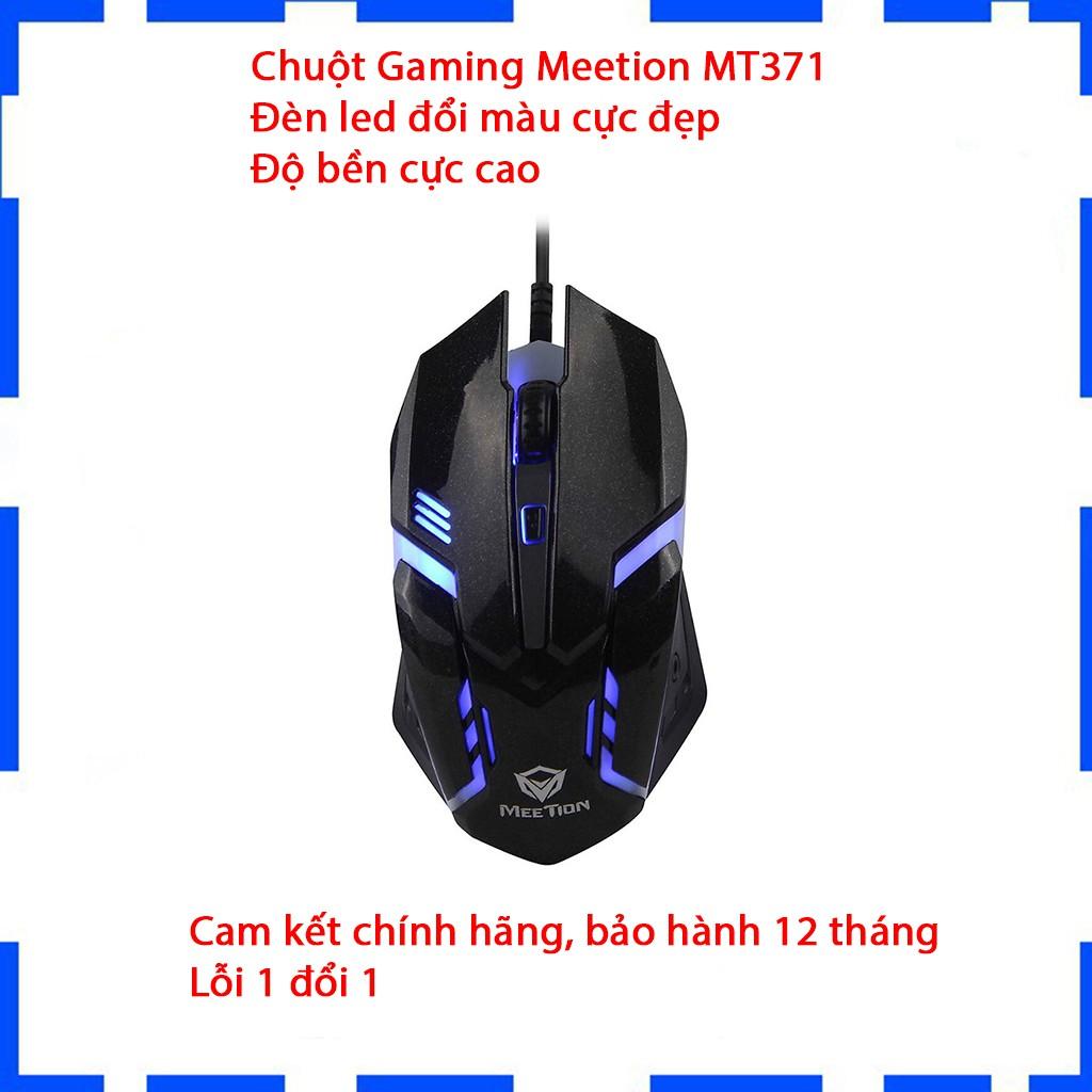 Chuột Gaming Meetion MT371 - Đèn led đổi màu - Độ bền cực cao ( 50 triệu lượt clịc ) - Bảo hành 12 tháng - Lỗi 1 đổi 1