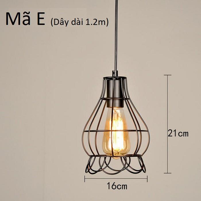 Đèn thả khung sắt nghệ thuật, đèn thả bàn ăn TSEB (gồm bóng)