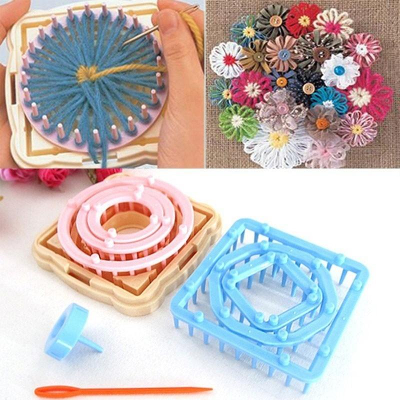 ♥superH♥9Pcs/ Set Flower Loom Petals Knitted Crochet Yarn Sewing Tool for Knitting Scarf Socks