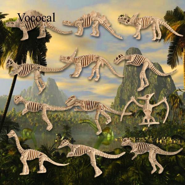 12pcs Assorted Dinosaur Fossil Skeleton Kids Toys Home Decoration 2.8-3.5inch
