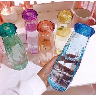 [Hottrent 2020] – Bình nước thủy tinh – Bình đựng nước kim cương nhiều màu sắc – Dung tích 500 ml