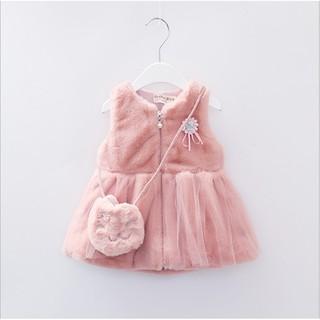 Váy lông có 3 màu kèm túi chất liệu lông mịn dành cho bé gái 1-3 tuổi có ảnh thật
