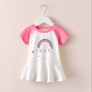 Váy Bé Gái Từ 1-8 Tuổi Xinh Mã K14, Đầm Trẻ Em Màu Trắng Hồng Chất Cotton Co Giãn, Thoáng Mát Họa Tiết Dễ Thương thumbnail