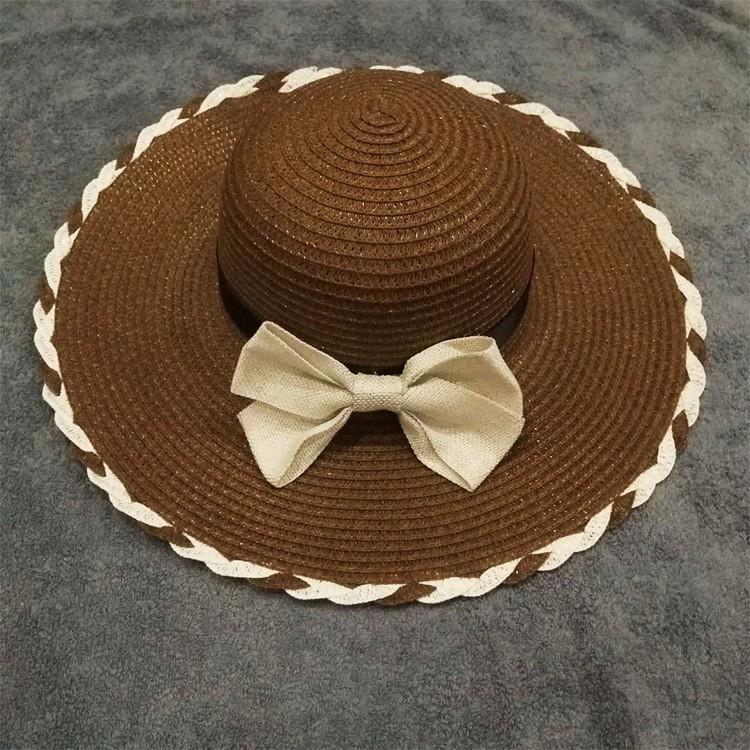 Mũ cói đi biển vàng rộng, nón cói đi biển thớ nơ có viền