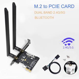 M.2 to PCIE card, hỗ trợ gắn M.2 wifi card, có 2 antenna 8dBi và cáp usb để kết nối bluetooth