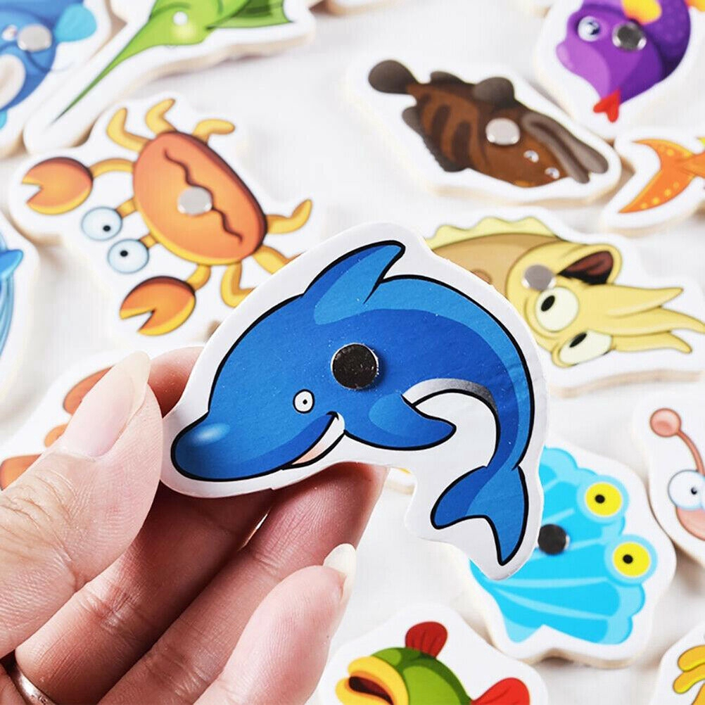 MPG Baby Kids Magnetic Fishing Game Jigsaw Puzzle Board Wooden Educational Toy