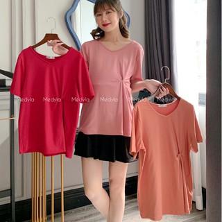 Áo phông trơn xoắn eo cho bầu thoải mái mặc trong và sau sinh - Áo bầu mùa hè thiết kế Medyla - X21-ACT001 thumbnail