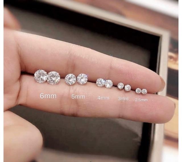 Khuyên tai bạc nụ đá Nhiều size Tlee bạc nguyên chất