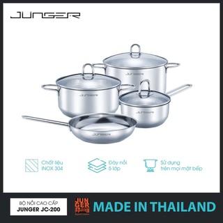 Bộ nồi chảo Inox 304 đáy 5 lớp Junger JC200 Made in Thailand