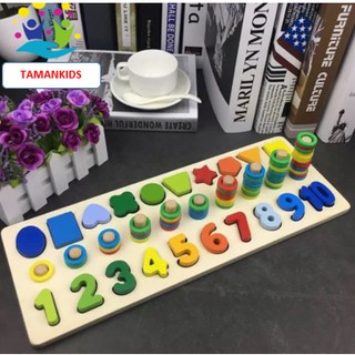 Giáo Cụ Montessori Cột Tính Học Đếm Và Hình Khối 2 Trong 1 Bằng Gỗ