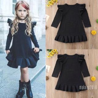 Mu♫-Kids Baby Girl Flying Sleeve Ruffle Princess Party Formal Dress 1-6Y