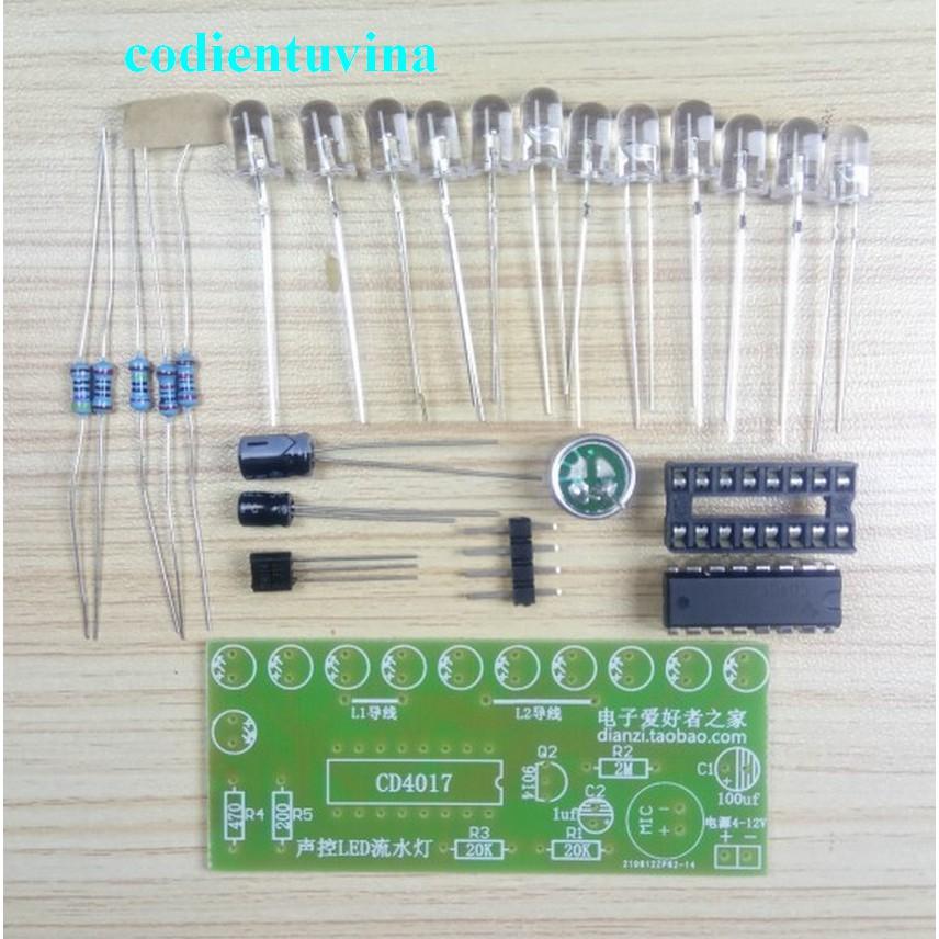 Bộ linh kiện mạch nháy theo âm thanh DIY Tự Ráp ( LED water light kit CD4017)
