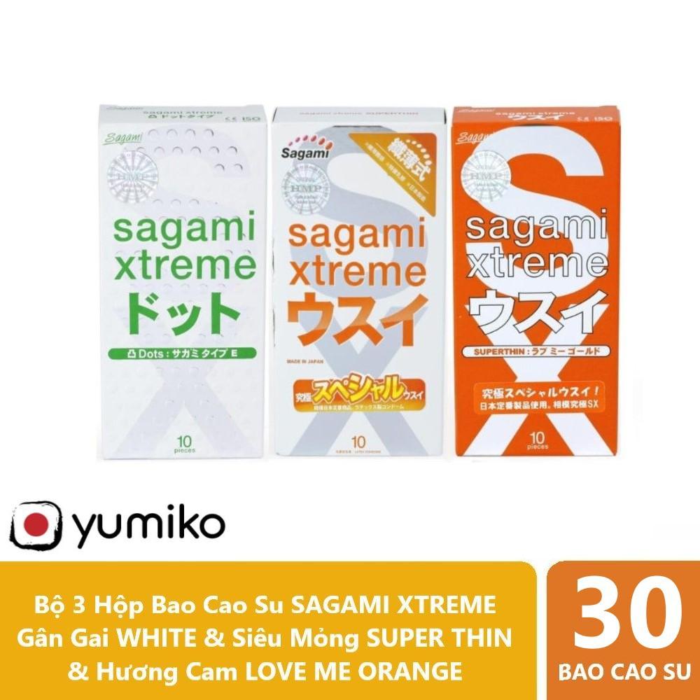 Combo 03 Hộp Bao Cao Su SAGAMI XTREME WHITE Gân Gai, SUPER THIN Siêu Mỏng.