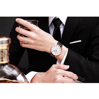 (Giá sỉ) Đồng hồ thời trang nam nữ Jis viền bạc dây da cực hot