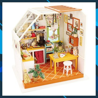 Mô hình nhà búp bê gỗ DIY Nhà Búp Bê Có đèn Nhà Bếp Robotime Toy World thumbnail