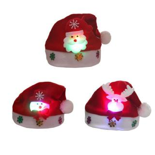Christmas Decorations Gift Cartoon Light Shiny Hats Cap Old Man Snowman for Adult and Kids