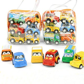 Set 6 đồ chơi ô tô mini chạy cót cho bé trai