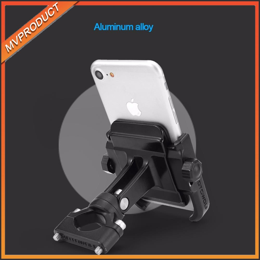 MOTOWOLF Universal Aluminum Alloy Motorcycle Phone Holder For GPS Bike Handlebar - Black