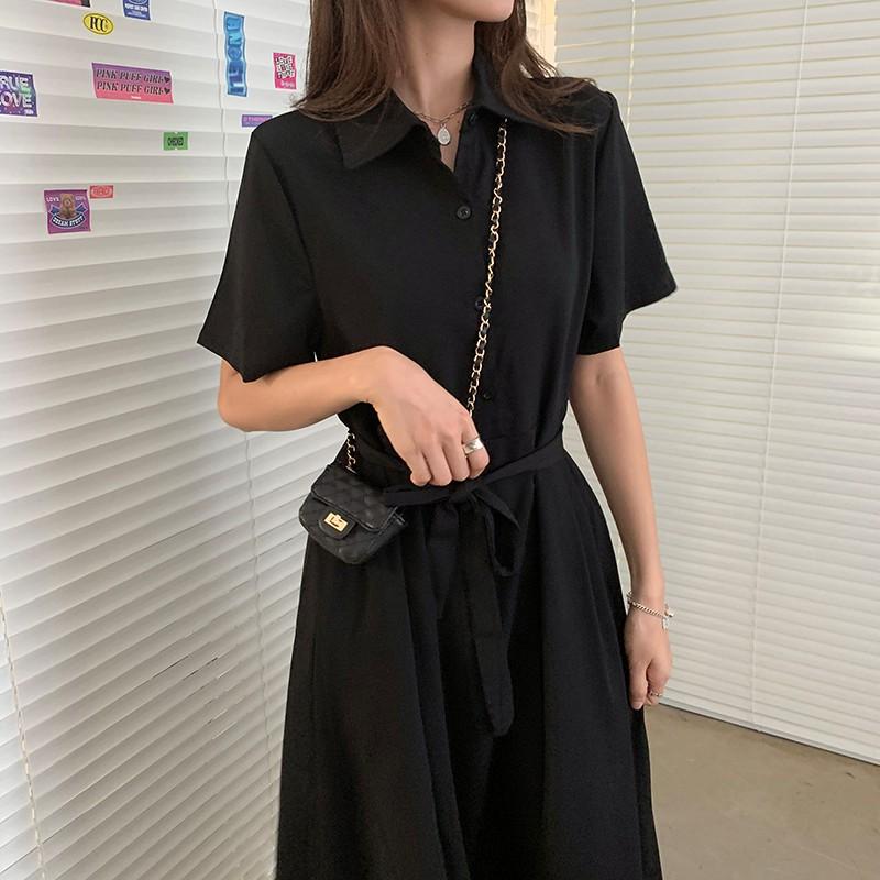 Đầm Dài Sơ mi Ngắn tay Màu trơn Form rộng Dáng chữ A Ulzzan Hàn Quốc Váy Dài Midi Kiểu Pháp Mùa Hè