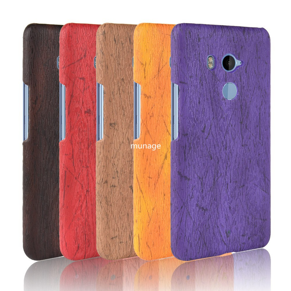 For HTC U11 Plus Case Hard PC+PU Leather Retro Wood Grain Phone Case