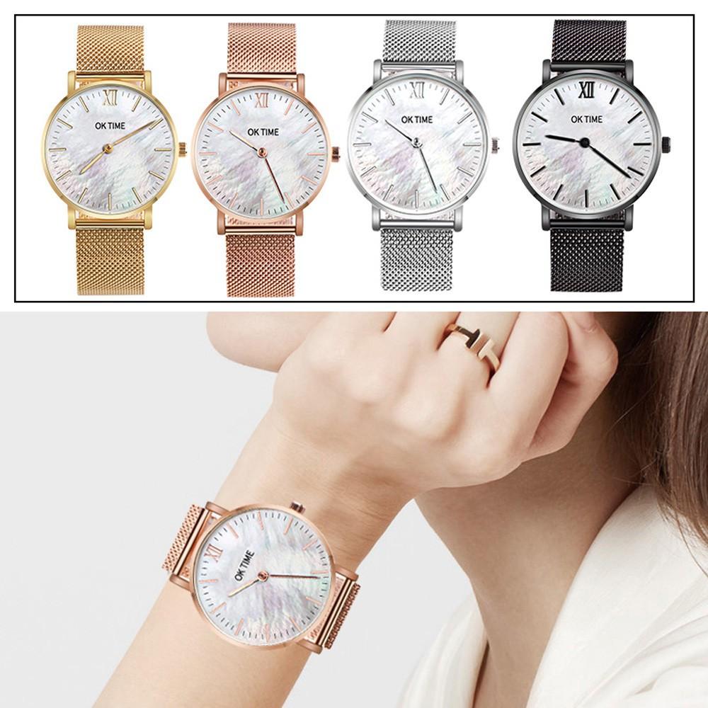 Aikefan Stainless Steel Ultra Thin Men's Women Watches Luxury Casual Quartz Watch