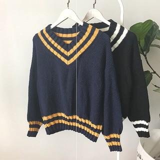 Áo Sweater Nữ Dáng Rộng Phong Cách Retro Nhật Bản
