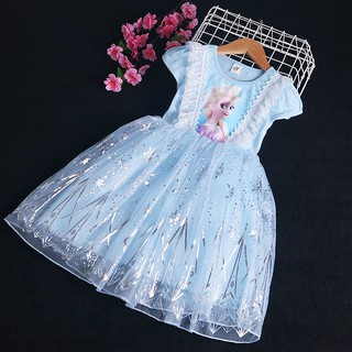 Đầm Công Chúa Elsa Tay Ngắn Xinh Xắn Cho Bé Gái