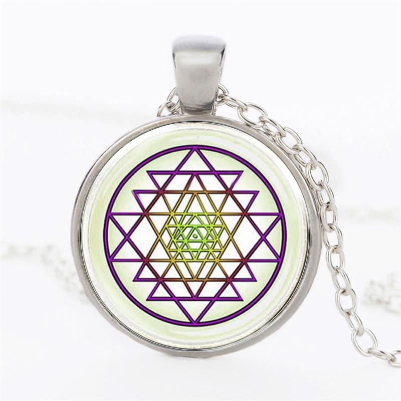 Buddhist Sri Yantra Pendant กำไล Sacred Geometry Jewelry
