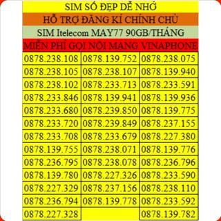 SIM 4G VINAPHONE DỄ NHỚ ❤️CHỈ 77K/THÁNG ❤️ SIM 4G VINA FREE 3GB / 1 ngày, gọi nội mạng free