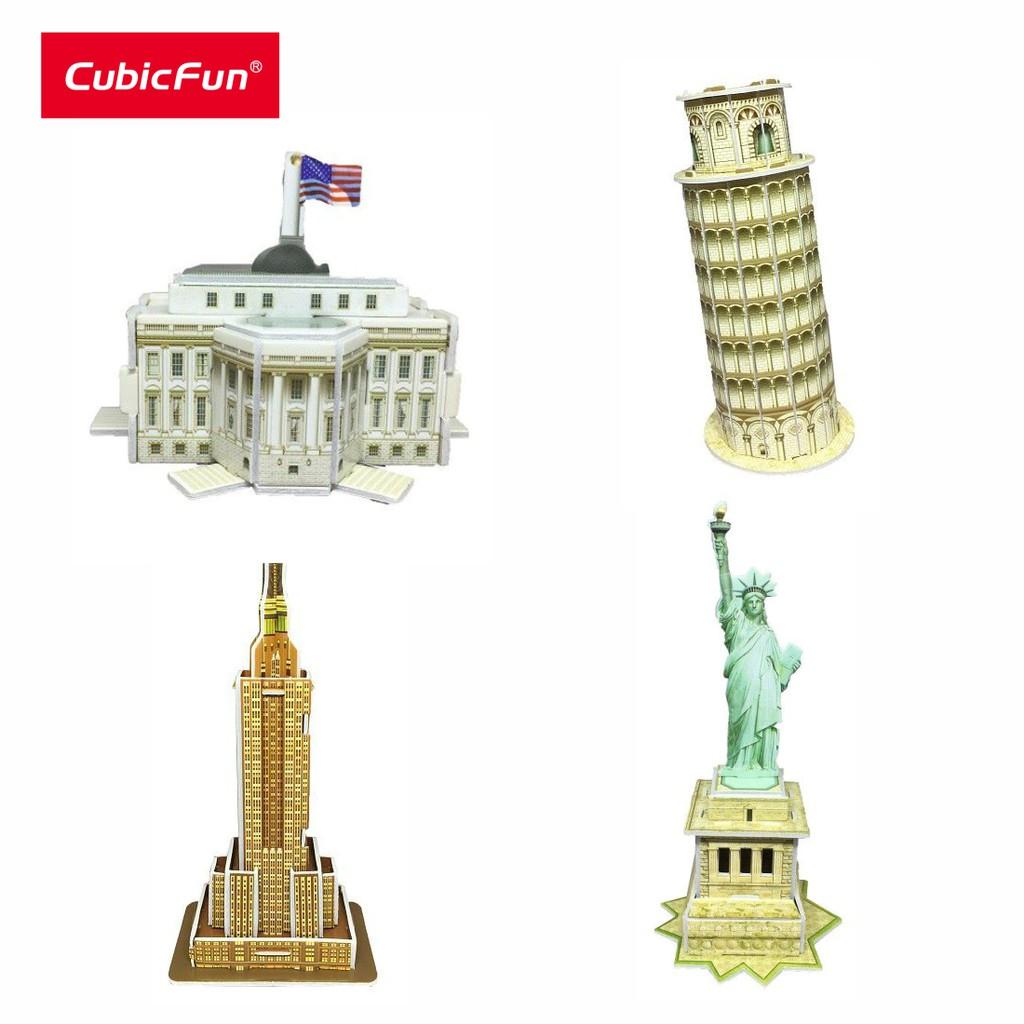 [ĐỒ CHƠI+TRƯNG BÀY] Combo 4 bộ mô hình Cubic Fun kiến trúc mini C102-1