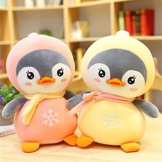 Gấu bông chim cánh cụt má hồng màu hồng vàng kích thước 35-50-60cm