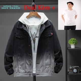 Áo khoác jean nam cao cấp phong cách thời trang mới 2 màu đen trắng