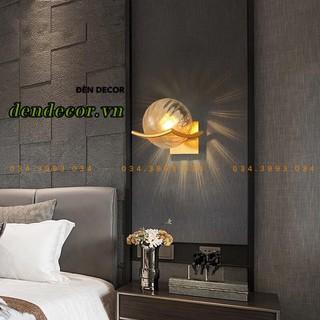 Đèn tường phòng khách ,phòng ngủ,đèn gắn tường hiện đại hình cầu thủy tinh vàng