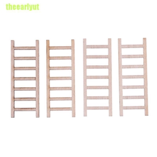 theearlyut 4Pcs Dollhouse Miniature Fairy Garden Wood Step Ladder Home Furniture Decoration
