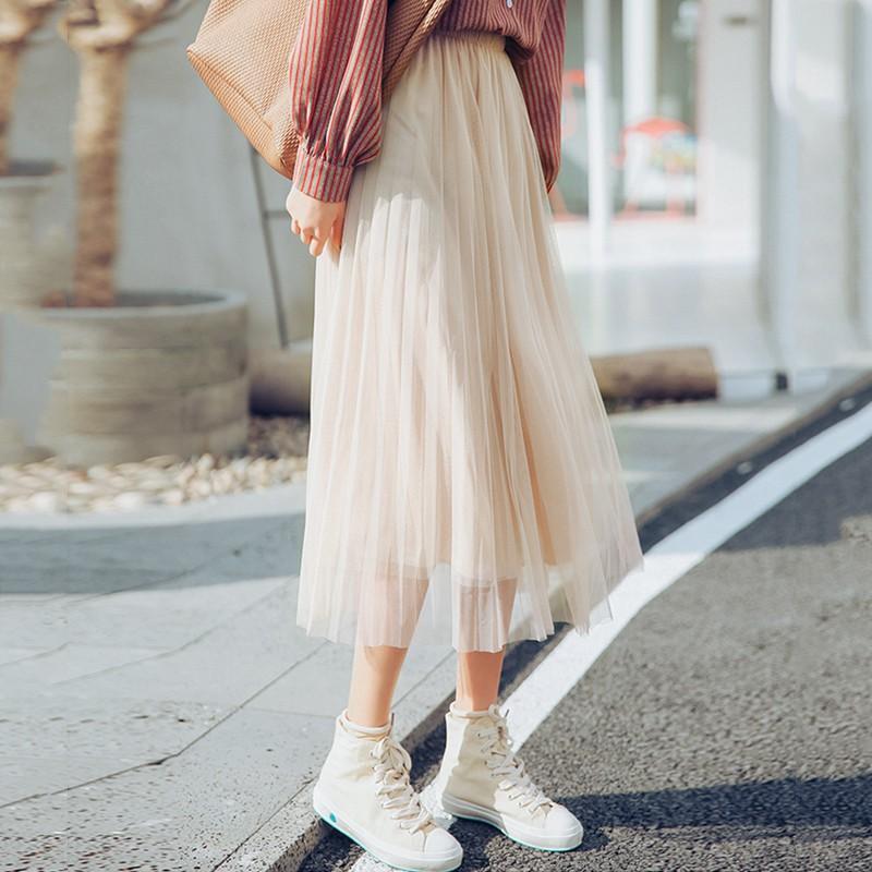 chân váy dài ulzzang order chân váy xếp li dài xòe dáng hàn quốc KÈM ẢNH THẬT