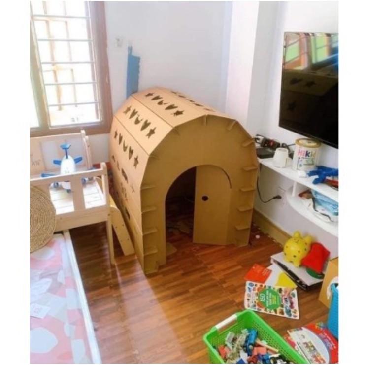 Nhà giấy, nhà xếp hình, Nhà lắp ghép trẻ em, nhà lắp ghép cho bé bằng bìa  carton kích thước (95 x87x 85cm) chính hãng 169,000đ
