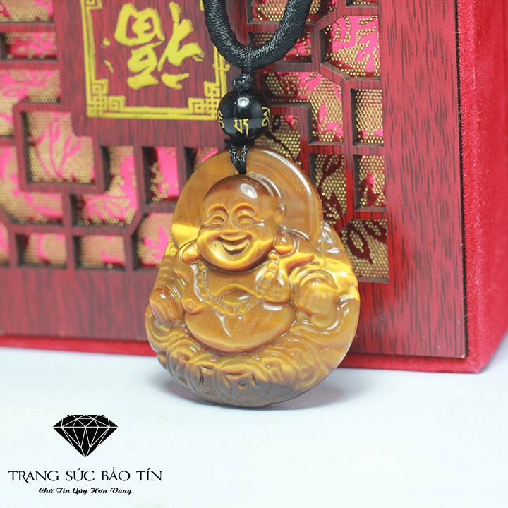 Mặt Phật Di Lặc Đá Mắt Hổ Vàng - Bảo Tín