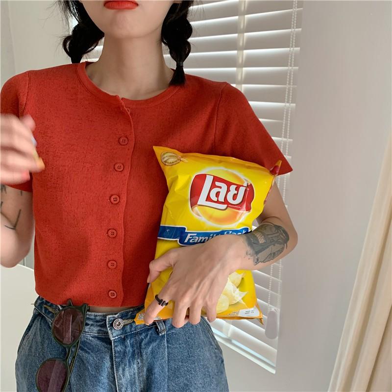 Mặc gì đẹp: Gợi cảm với Áo croptop len dệt kim AimeiBeauty tay ngắn dễ thương
