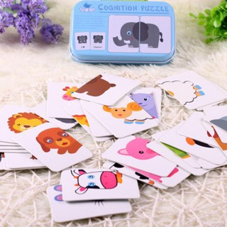 Baby Kids Puzzle Toy Toddler Iron Box Cards Matching Games