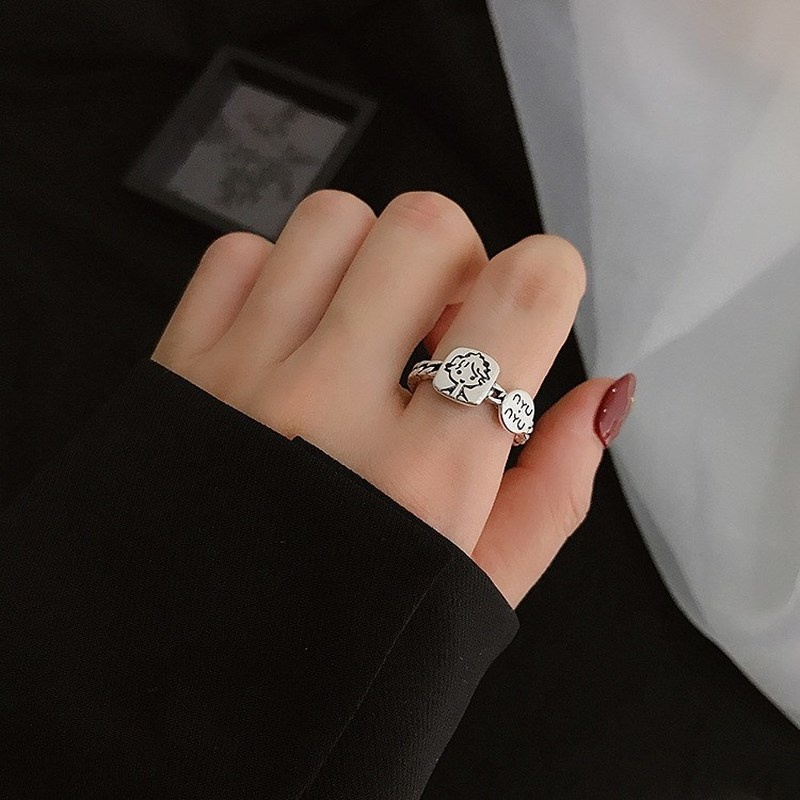 Magic789 Retro Silver Little Prince Ring for Women Made for You Lettering Finger Cuff Jewelry