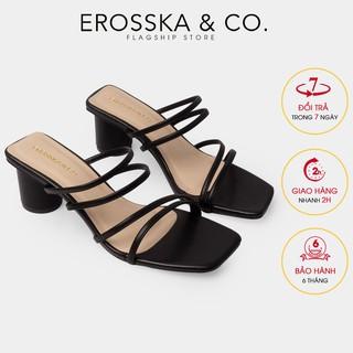 Dép cao gót Erosska thời trang mũi vuông phối dây quai mảnh cao 5cm màu đen _ EM038
