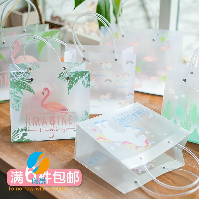 Small fresh flamingo transparent gift bag shopping bag gift