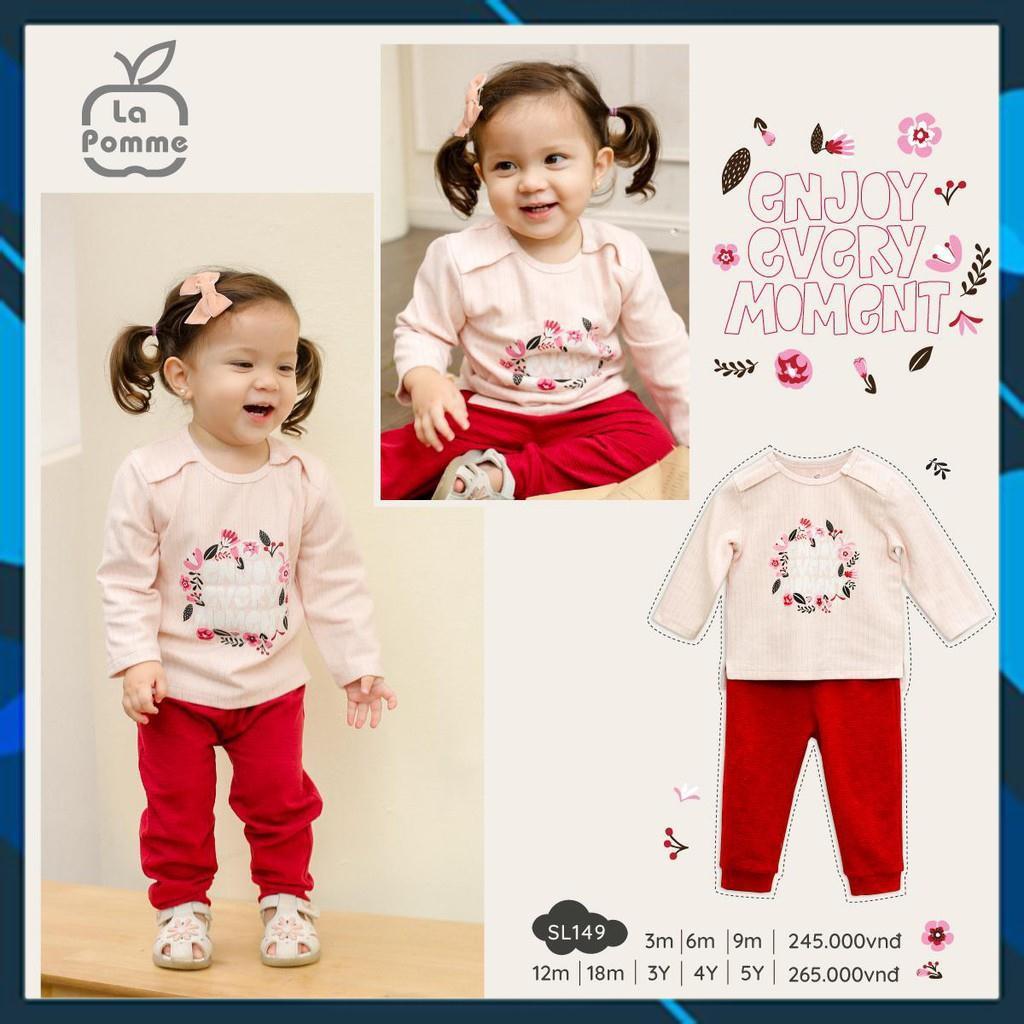 SL149 Bộ dài tay bé gái Save the moment Hãng La pomme (3 tháng - 5 tuổi)