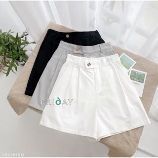 Quần sooc nữ freesize quần short đùi khuy lệch chất thô mêm Friday thumbnail