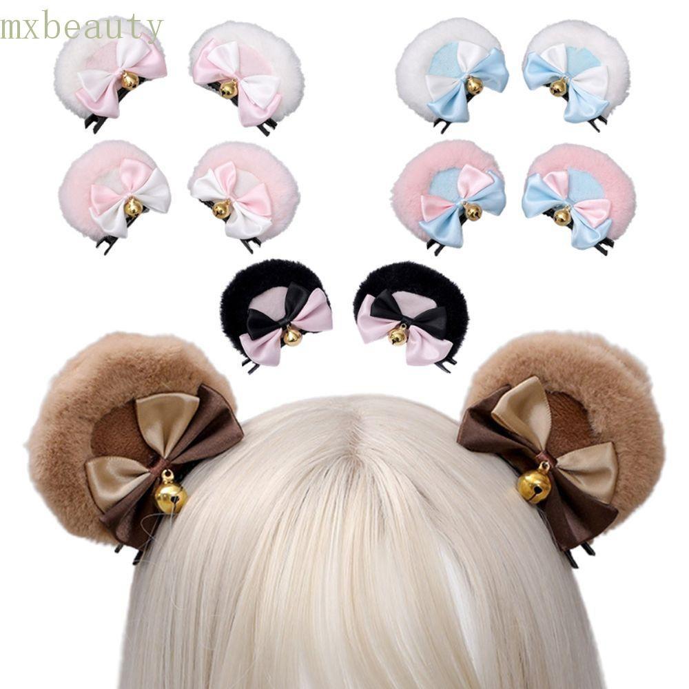Kẹp tóc hình tai gấu bằng lông dễ thương dành cho nữ